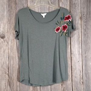 Adiva Slub Knit Top Green Embroidered Tee